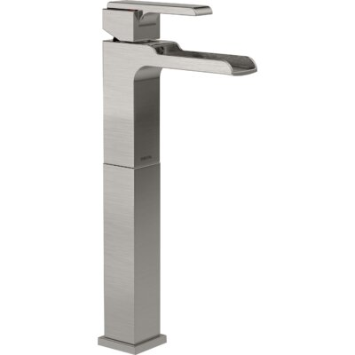 Ara Single Handle Centerset Lavatory Faucet with Riser and Channel Spout Finish: Brilliance Stainless