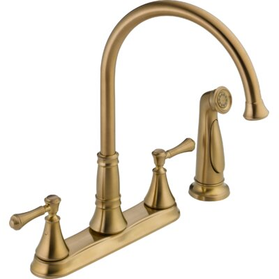 Cassidy Double Handle Deck Mounted Kitchen Faucet with Spray Finish: Brilliance Champagne Bronze