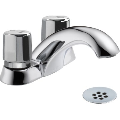 Metering Two Handle Self-Closing Bathroom Faucet with Grid Strainer