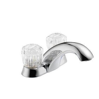 Classic Double Handle Centerset Bathroom Faucet with Clear Knob Handles and Pop-Up Hole