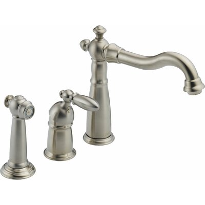 Victorian Single Handle Deck Mounted Kitchen Faucet with Spray Finish: Brilliance Stainless