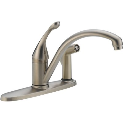Collins Single Handle Kitchen Faucet with Side Spray Finish: Brilliance Stainless