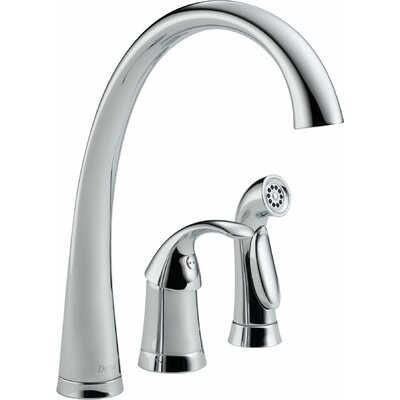 Pilar Single Handle Deck Mounted Kitchen Faucet with Spray Finish: Chrome