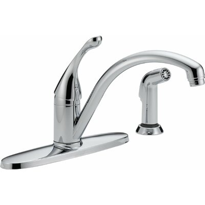 Collins Single Handle Centerset Water Efficient Kitchen Faucet with Spray Finish: Chrome