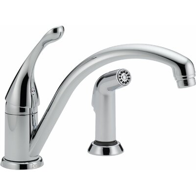 Collins Single Handle Deck Mounted Kitchen Faucet with Integrated Supply Tubes Finish: Chrome