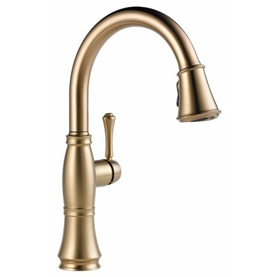 Cassidy Single Handle Pull Down Kitchen Faucet with Spray Finish: Brilliance Champagne Bronze