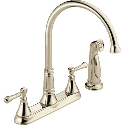 Cassidy Double Handle Deck Mounted Kitchen Faucet with Spray Finish: Brilliance Polished Nickel