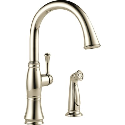 Cassidy Single Handle Standard Kitchen Faucet with Spray Finish: Polished Nickel