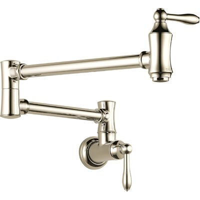 Cassidy Traditional Double Handle Wall Mount Pot Filler Faucet Finish: Brilliance Polished Nickel