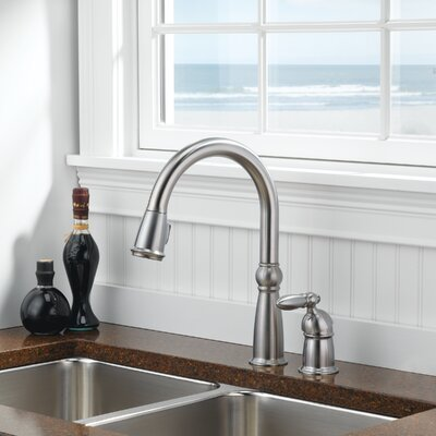 Victorian Single Handle Deck Mounted Kitchen Faucet Finish: Brilliance Stainless
