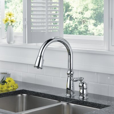 Victorian Single Handle Deck Mounted Kitchen Faucet Finish: Chrome
