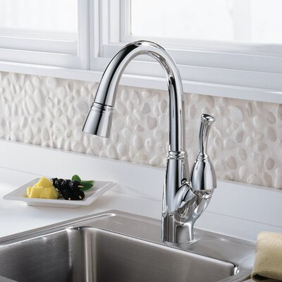 Allora Single Handle Deck Mounted Bar Faucet with Pull Out Spray Finish: Chrome