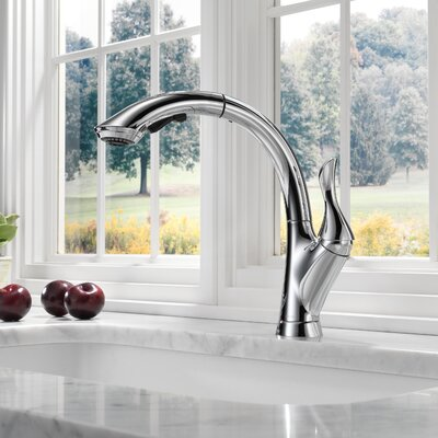 Linden Single Handle Pull Out Standard Kitchen Faucet Finish: Chrome