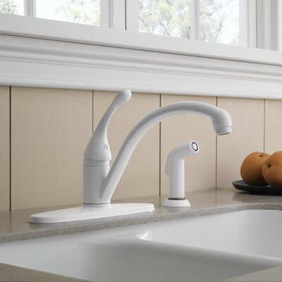 Collins Single Handle Centerset Arched Kitchen Faucet with Spray Finish: White
