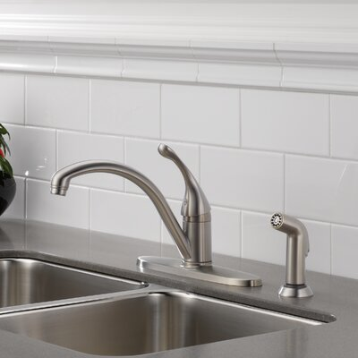 Collins Single Handle Centerset Arched Kitchen Faucet with Spray Finish: Brilliance Stainless