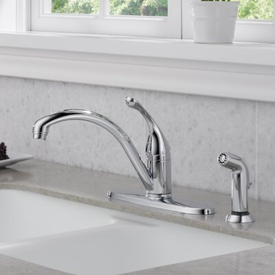 Collins Single Handle Centerset Arched Kitchen Faucet with Spray Finish: Chrome