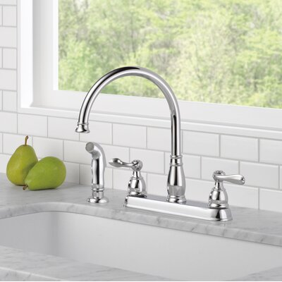 Windemere Double Handle Kitchen Faucet with Side Spray Finish: Chrome