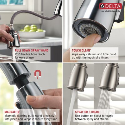Cassidy Single Handle Standard Kitchen Faucet with Spray Finish: Chrome