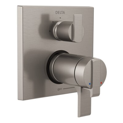 Ara Thermostatic 17T Series Trim with Double Handle Finish: Stainless