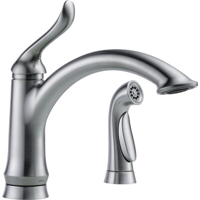 Linden Single Handle Deck Mounted Kitchen Faucet with Spray Finish: Arctic Stainless