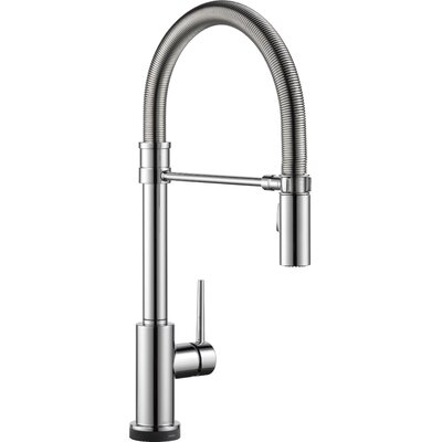 Trinsic Pro Single Handle Deck Mounted Pull Down Kitchen Faucet with Touch2O Technology and Spring Sprout Finish: Chrome