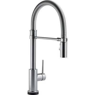 Trinsic Pro Single Handle Deck Mounted Pull Down Kitchen Faucet with Touch2O Technology and Spring Sprout Finish: Arctic Stainless