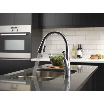 Allora Single Handle Deck Mounted Kitchen Faucet with Pull-Out Spray Finish: Chrome, Soap Dispenser: No