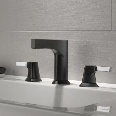 Zura Double Handle Widespread Bathroom Faucet with Drain Assembly Finish: Chrome/Matte Black