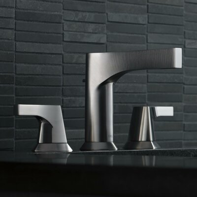 Zura Double Handle Widespread Bathroom Faucet with Drain Assembly Finish: Stainless