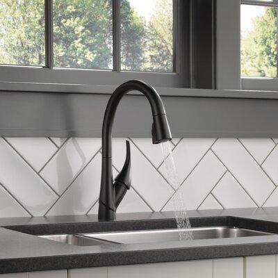 Esque Single Handle Pull Down Kitchen Faucet Finish: Matte Black