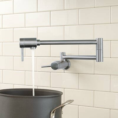 Single Hangle Wall Mount Pot Filler Faucet Finish: Arctic Stainless