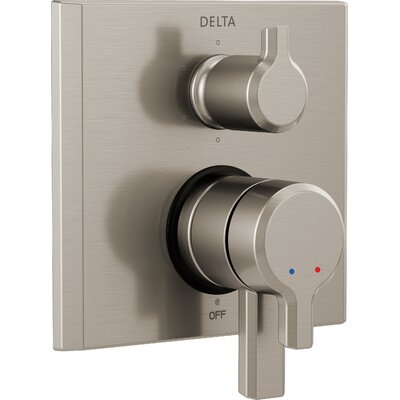 Pivotal Monitor 17 Series Double Handle Valve Trim with 6-Setting Diverter Finish: Stainless Steel