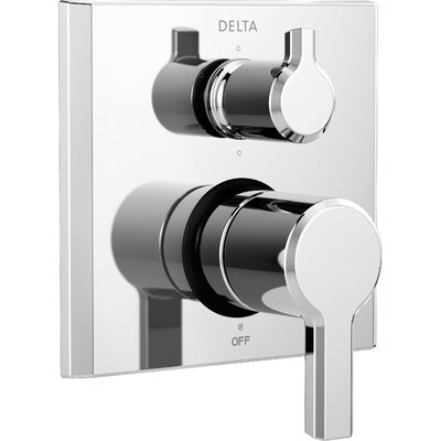 Pivotal Monitor 14 Series Double Handle Valve Trim with 6-Setting Diverter Finish: Chrome