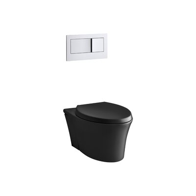 Veil One-Piece Elongated Dual-Flush Wall-Hung Toilet with Reveal Quiet-Close Seat and 2X6 In-Wall Tank and Carrier System Finish: Black Black