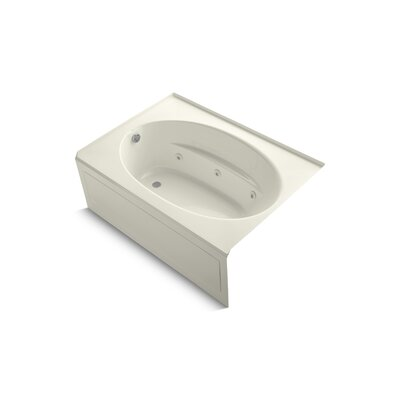 Windward Alcove 60 x 42 Whirpool Bathtub Finish: Biscuit, Drain Location: Left