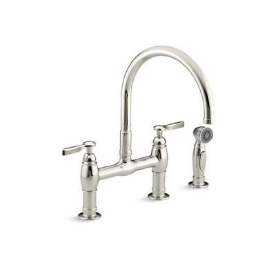 Parq Two-Hole Deck-Mount Bridge Kitchen Sink Faucet with 9 Gooseneck, Matching Finish Sidespray and Lever Handles Finish: Vibrant Polished Nickel