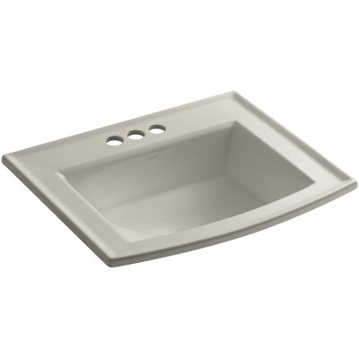 Archer Vitreous China Rectangular Drop-In Bathroom Sink with Overflow Finish: Sandbar, Faucet Hole Style: Single