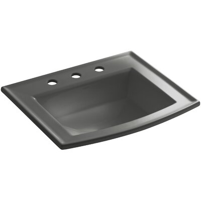 Archer Vitreous China Rectangular Drop-In Bathroom Sink with Overflow Finish: Thunder Grey, Faucet Hole Style: 4 Centerset