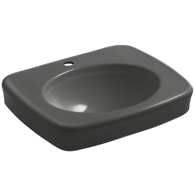 Bancroft 24 Pedestal Bathroom Sink Finish: Thunder Grey, Faucet Hole Style: 4 Centerset