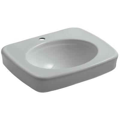 Bancroft 24 Pedestal Bathroom Sink Finish: Ice Grey, Faucet Hole Style: 4 Centerset