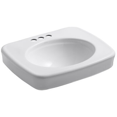 Bancroft� Ceramic 24 Pedestal Bathroom Sink Finish: White, Faucet Hole Style: Single