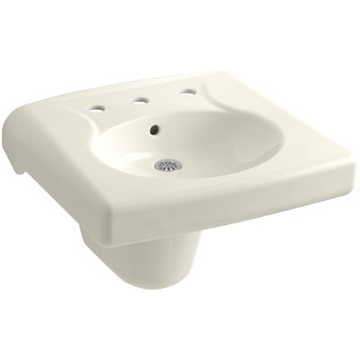 Brenham Ceramic 22 Wall Mount Bathroom Sink with Overflow Finish: Biscuit, Faucet Hole Style: Single