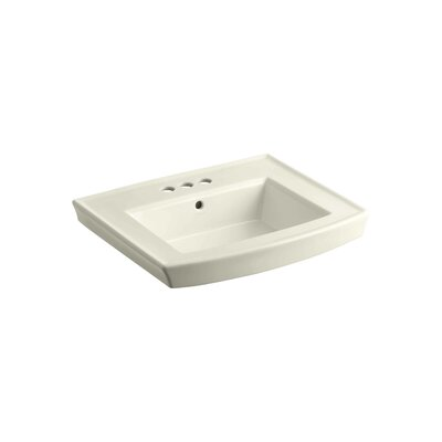 Archer 24 Pedestal Bathroom Sink Finish: Almond, Faucet Hole Style: 4 Centerset
