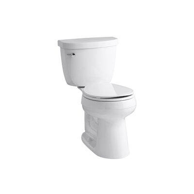 Cimarron Comfort Height 2 Piece Round-Front 1.28 GPF Toilet with Aquapiston Flush Technology and Left-Hand Trip Lever Finish: White
