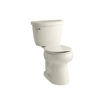 Cimarron Comfort Height 2 Piece Round-Front 1.28 GPF Toilet with Aquapiston Flush Technology and Left-Hand Trip Lever Finish: Almond