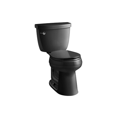 Cimarron Comfort Height 2 Piece Round-Front 1.28 GPF Toilet with Aquapiston Flush Technology and Left-Hand Trip Lever Finish: Black Black