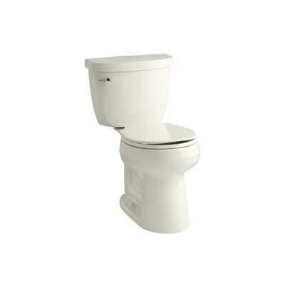 Cimarron Comfort Height 2 Piece Round-Front 1.28 GPF Toilet with Aquapiston Flush Technology and Left-Hand Trip Lever Finish: Biscuit