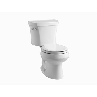 Wellworth Two-Piece Round-Front 1.28 GPF Toilet with Class Five Flush Technology, Left-Hand Trip Lever, Insuliner Tank Liner and Tank Cover Locks Finish: White