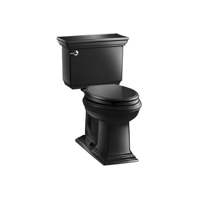 Memoirs Stately Comfort Height Two-Piece Elongated 1.6 GPF Toilet with Aquapiston Flush Technology and Left-Hand Trip Lever Finish: Black Black