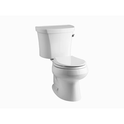 Wellworth Two-Piece Round-Front 1.28 GPF Toilet with Class Five Flush Technology, Right-Hand Trip Lever and Tank Cover Locks Finish: White